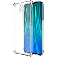 TheGiftKart Ultra Clear Slim Shockproof Anti-Slip Grip Soft Back Cover Case with Best Camera Protection & Anti-Dust Plugs Built-in for Xiaomi Redmi Note 8 Pro (Transparent) [ Launch Offer ]