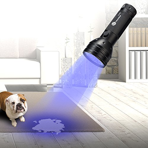 UV Flashlight Black Lights, TaoTronics 51 Ultravilot Urine Detector for dogs, Pet Stain Detector, Dog Urine Remover, Bed Bug Detector with UV Sunglasses and Duracell Batteries included