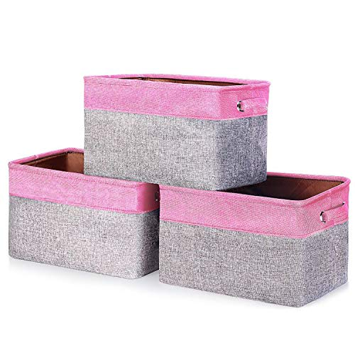 """Bin Large Pink Storage - senbowe [3-Pack Large Collapsible Storage Bin Basket, Linen Foldable Storage Cubs Bins Baskets Organizer Containers with Handles - Pink/Gray for Home Office Nursery Closet - (14.6 x 10.6 x9.2"""")"""