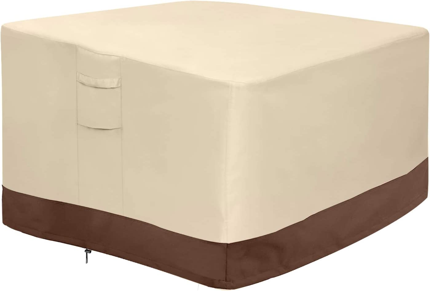 """Vailge Fire Pit Cover,100% Waterproof Square Gas Firepit Table Cover,Outdoor Heavy Duty Lawn Patio Furniture Covers with Air Vent and Handle,36"""" L x 36"""" W x 20"""" H,Beige & Brown"""