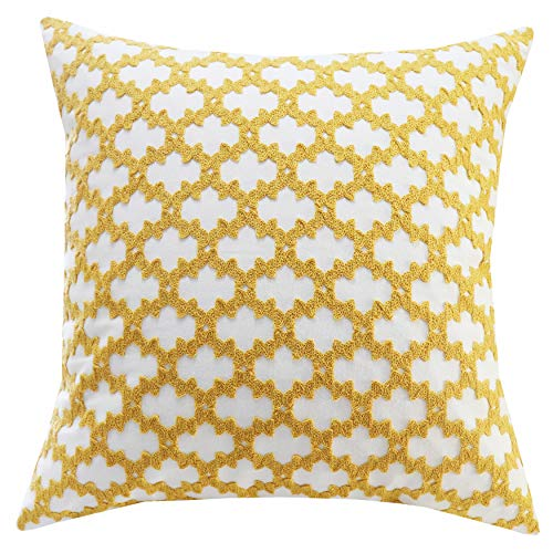 Pillow Checkered (SLOW COW Cotton Embroidery Decorative Throw Pillow Cover Cushion Cover for Couch Sofa Bedroom Geometric Checkered Pattern Pillowcase Accent Pillow Cover 18 x 18 Inches Yellow)