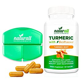 Turmeric Curcumin with Bioperine 1200mg – Includes 95% Curcuminoids – Free Pill Case Included – 60 Vegetarian Capsules- Gluten Free Joint Health