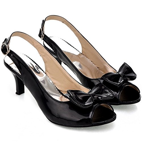 Dulce Delgado Peep medio Slingback Moda Mujer Zapatos Tacon Negro Toe FANIMILA Bowtie Sandalias Xpx8Y8