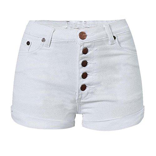段階運賃こどもセンターLIYTレディースファッションホワイトスリムフィットハイウエストデニムショートパンツ