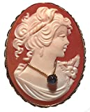 Romantica Cameo Brooch Pendant Master Carved, Carnelian Shell, Sapphire Necklace Sterling Silver Italian