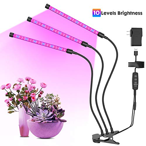 GROSSYLAND 30W Plant Grow Light with Auto Turn ON/Off Function, 3-Head LED Grow Light with 10 Dimmable Levels Grow Lamp with Free Adjustable Gooseneck for Indoor Plants Growing