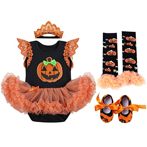 Matching Sister Halloween Costumes (Baby Girls 1st Halloween Outfit My First Christmas Birthday Fancy Party Romper Dress Lace Flutter Sleeve Bodysuit Headband Leg Warmers Shoes Pumpkin Skull Photo Prop Costume 4Pcs Set Orange)