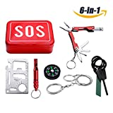 RISEN Survival Kit Outdoor Emergency Survival Gear Tools Kit with Compass,Fire Starter,Whistle,Wire Saw,LED Flashlight,Multitool Pliers&Tool Card for Camping, Traveling,Climbing,Hiking,Hunting,Biking