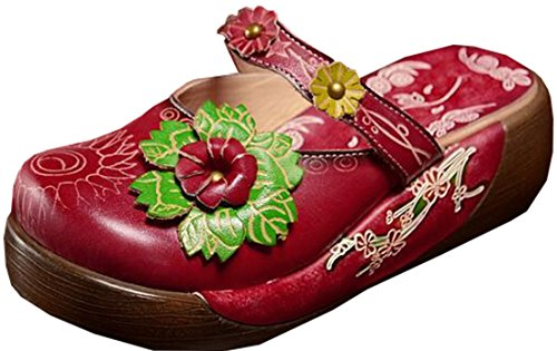 Red Home Style Women's Slippers Handmade Ethnic Laruise xw0qOTYW