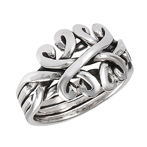Prime Jewelry Collection Sterling Silver Women's Oxidized Celtic Knot Puzzle Band Ring (Sizes 6-10) (Ring Size (Silver Puzzle Ring)