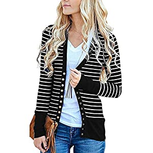 Cowear Women's S-3XL Solid Button Front Knitwears Long Sleeve Casual Cardigans
