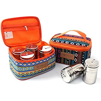 FantasyDay Gift Set Spice Jar With Shaker Tops Food Seasoning Dressing Bottle with Travel Bag Salt/Sugar/Spice/Pepper/Cheese Shaker Kitchen Gadget for Camping, Party and Wedding Set of 6#1