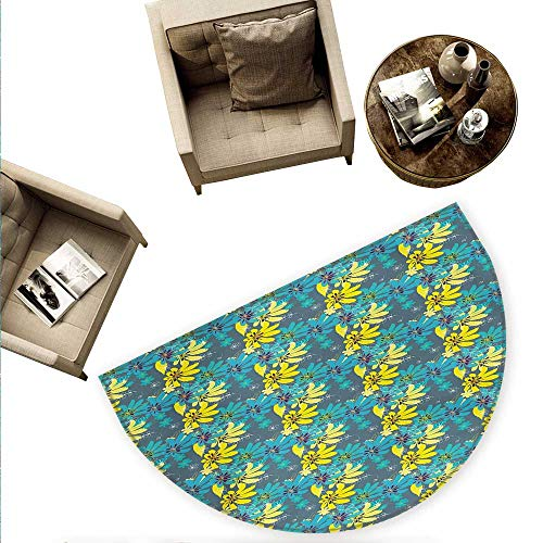 Yellow and Blue Semicircle Doormat Abstract Flowers with Hand Drawn Daisies and Leaves Exotic Bedding Plants Halfmoon doormats H 78.7