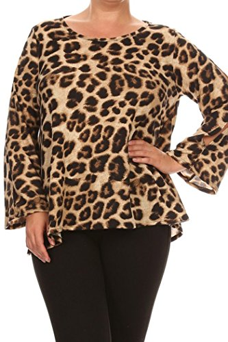 Women's Plus Size Print Sweater Top. MADE IN USA (3X, Brown/Animal)