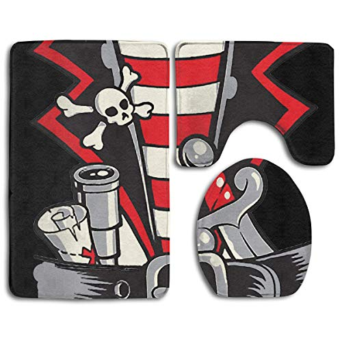 Non Slip Bathroom Rug Toilet Sets, Halloween Buccaneer Costume Outfit Suit Family Flannel Non-Slip Bathroom Rug Mats Set 3 Piece Washable Contour Rug and Lid Cover ()
