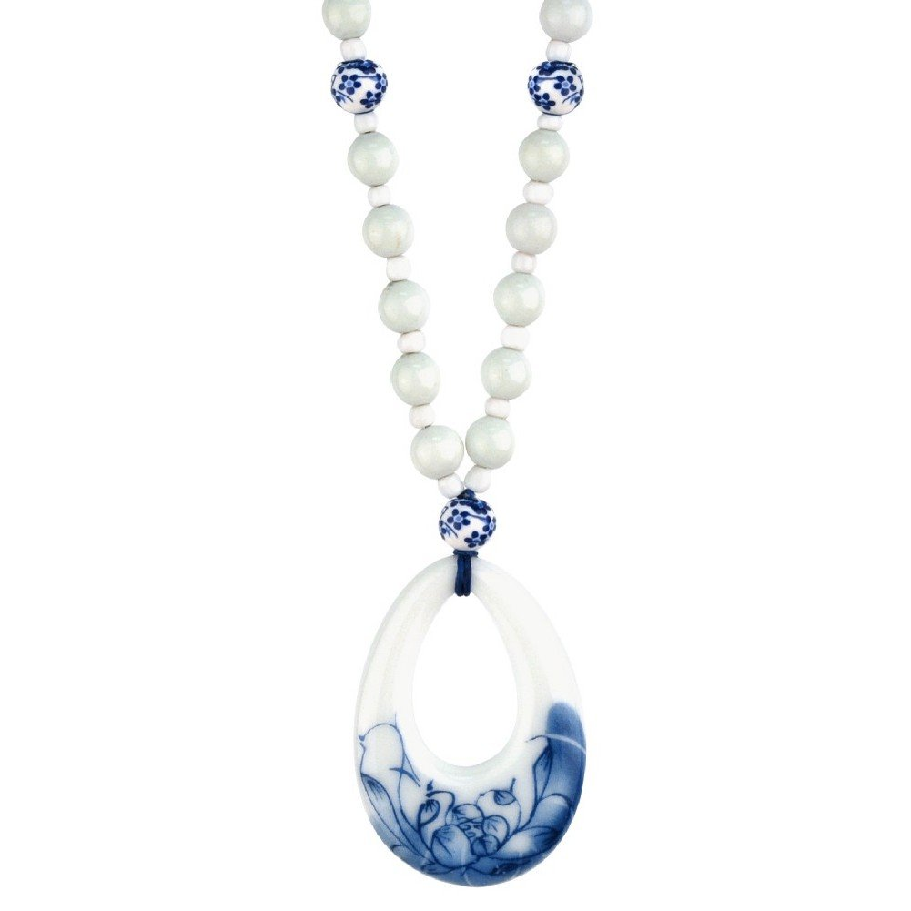 Joe Cool Necklace with A Pendant Teardrop Blue /& White 46cm Made with Cord /& Ceramic