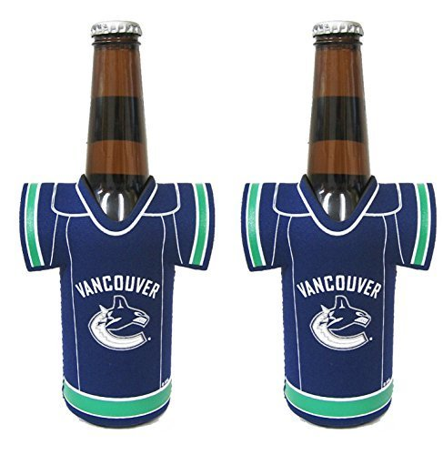 NHL Hockey 2014 Team Color Logo Bottle Jersey Holder Koozie Cooler 2-Pack (Vancouver Canucks)