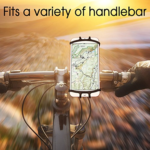 VUP Silicone Bike Phone Mount for iPhone X/8 Plus/8/7 Plus, Galaxy S8 Plus, Nexus, Nokia, LG, Universal Bicycle Motorcycle Handlebars Adjustable Cell Phone Holder, 360° Rotation by VUP (Image #4)
