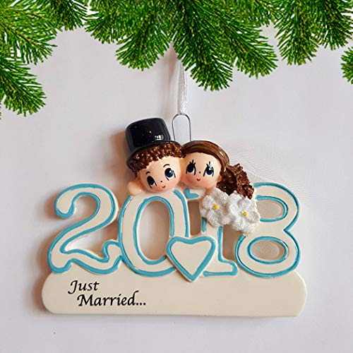 Personalized 2018 Wedding Christmas Ornament for Tree - Brunette Just Married Bride with Tulle Groom Blue Letter Heart Flowers - Dated Romantic 1st Newlywed Gift First Ceremony - Free Customization -