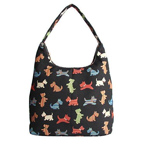 Signare Womens Tapestry Fashion Shoulder Bag/ Hobo Bag in Scottie Dog Design