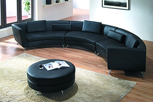 Modern Line Furniture 8004B-G5 Contemporary Leather Curved Sectional Sofa with Ottoman Restaurant/Bar/Nightclub/Hospitality Furniture, Black (Pack of 4) (Curved Sectional Sofas)