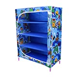 Little One's 4 Fabric Shelves Folding Wardrobe- Jungle Blue. Powder Coated Strong And Sturdy Steel Structure (USP), Dimensions: 22' X 12' X 31'