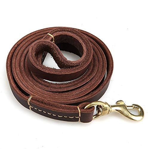 (Currens Leather Dog Leash 6 Foot x 4/5 inch - Strong & Soft Walking Training Leads for Large and Medium Dogs (Triple Stitches))
