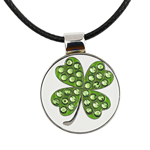 PINMEI Golf Ball Marker with Magnetic Necklace Great Golf Gift for Women (Clover) (Golf Gifts For Ladies)