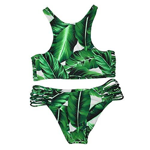 Leaf 10 Tropical - Fashion-Plus Women's Tropical Leaves Printing Tank Padding Bikini Set Green Swimsuit