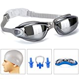 GAOGE Swim Goggles,Swimming Goggles + Swim Cap + Case + Nose Clip + Ear Plugs, Triathlon Swim Goggles Mirror Coated Lenses Anti-Fog Shatterproof UV Protection for Adult Men Women Youth Kids Child Gray