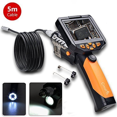 5m/16.5ft Digital Endoscope,CrazyFire® NTS200 Portable Handheld Borescope Inspection Camera with 3.5 Inch LCD 8.2mm Diameter 1W Cree LED Flashlight by CrazyFire