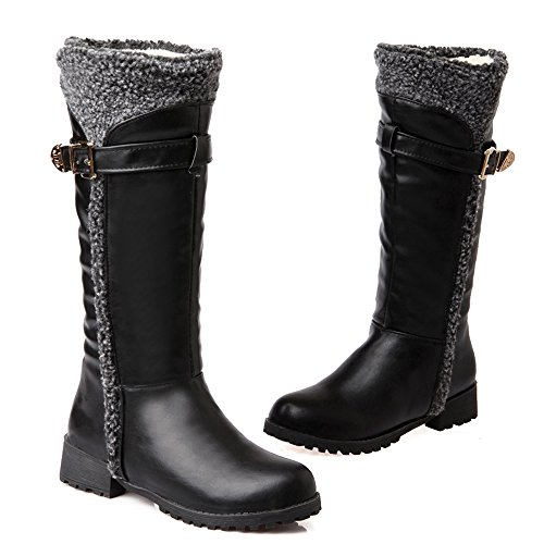 Femmes Mi Confortable Hiver mollet Bottes Lined Warm Black Coolcept qpwB7d5q