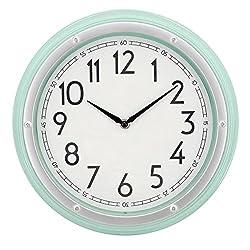 Westclox Mint Green 12 Round Wall Clock with 3D Screw Head Bezel