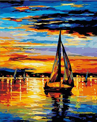 lmqzzh Digital Painting Frameless Beach Boat Abstract Painting DIY Digital Scenery Painting by Numbers Modern Night Street Wall Art Picture for Home Decor 40X50Cm