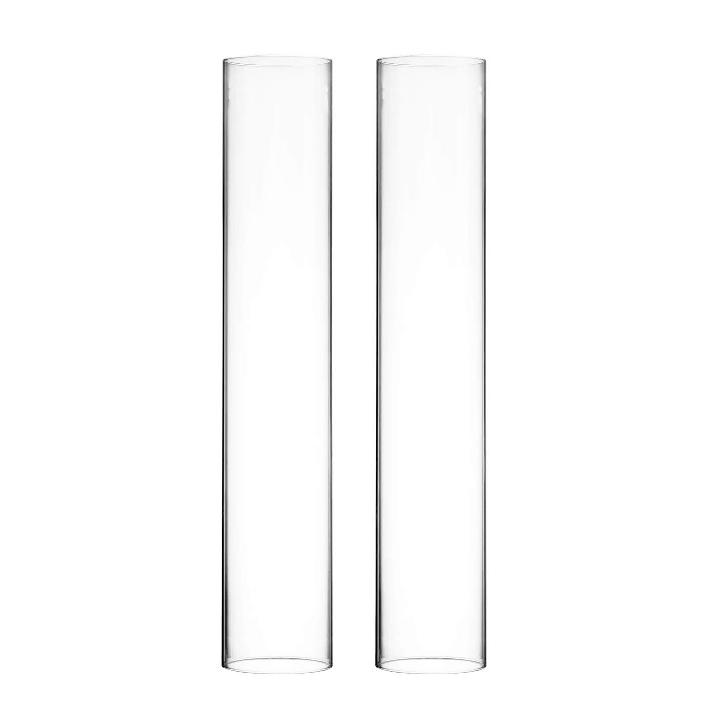 CYS EXCEL Pack of 6 Glass Hurricane Candle Holders, Tabletop Protection Decoration, Chimney Tube, Glass Cylinder Open Both Ends, Open Ended Hurricane, Candle Shade (4'' Wide x 24'' Tall)