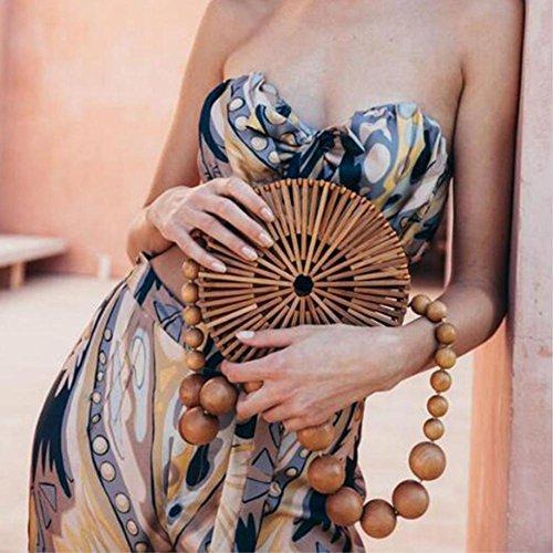 bambou Sac femmes de bambou de sac main la le en des de fait main plage circulaire à en à bambou correspondance tout r6Uq1r
