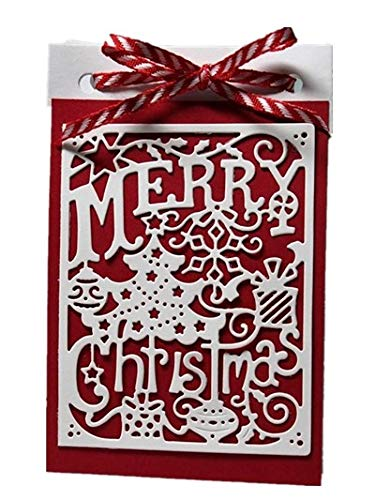 FEIDAjdzf Merry Christmas Stitched Frame Cutting Die Scrapbooking Decor Embossing Stencil - Silver