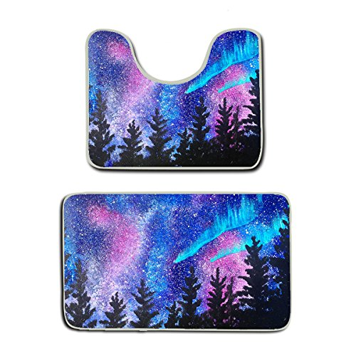 AMERICAN TANG Memory Foam 2 piece bathroom rug set - stranger galaxy starry forest trees thing - Skidproof bath Mat And Toilet Seat Contour Cover rug