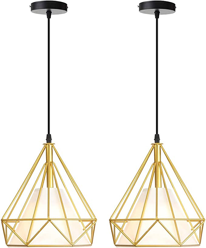 iDEGU – Juego de 2 lámparas de techo de estilo vintage con jaula de metal retro E27 lámparas de techo con forma de diamante con pantalla de tela, 25 cm, color dorado
