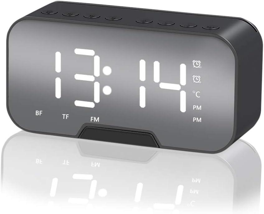 Everpertuk - Reloj despertador con altavoz Bluetooth, recargable por USB, inalámbrico, despertador digital de mesilla con caja de pantalla LED, soporte para teléfono, radio FM Hi-Fi, TF AUX, espejo