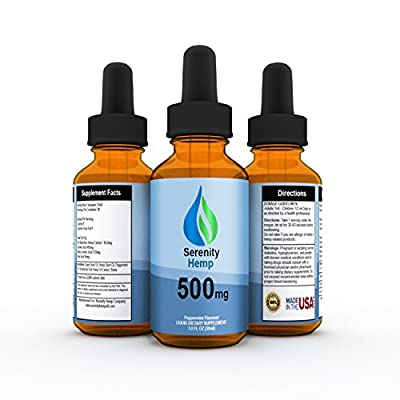 Serenity Hemp Oil - Peppermint Flavor - 1 fl oz 500mg - Certified Organic - 99.9% Pure Full Spectrum Hemp Extract - For Pain - Stress - Anxiety