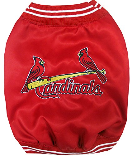 (MLB Saint Louis Cardinals Dugout Jacket for Dogs & Cats, Small. - Warm, Team Color & Logo with Velcro Closure)