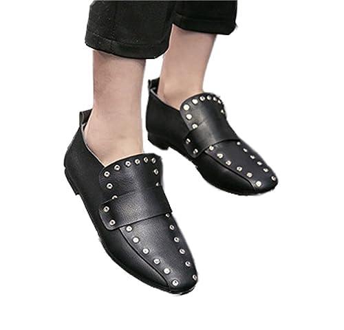 Xianshu Mujeres Remache Deslizamiento en Zapatos Planos Casuales Mocasines Tods(Negro-39)