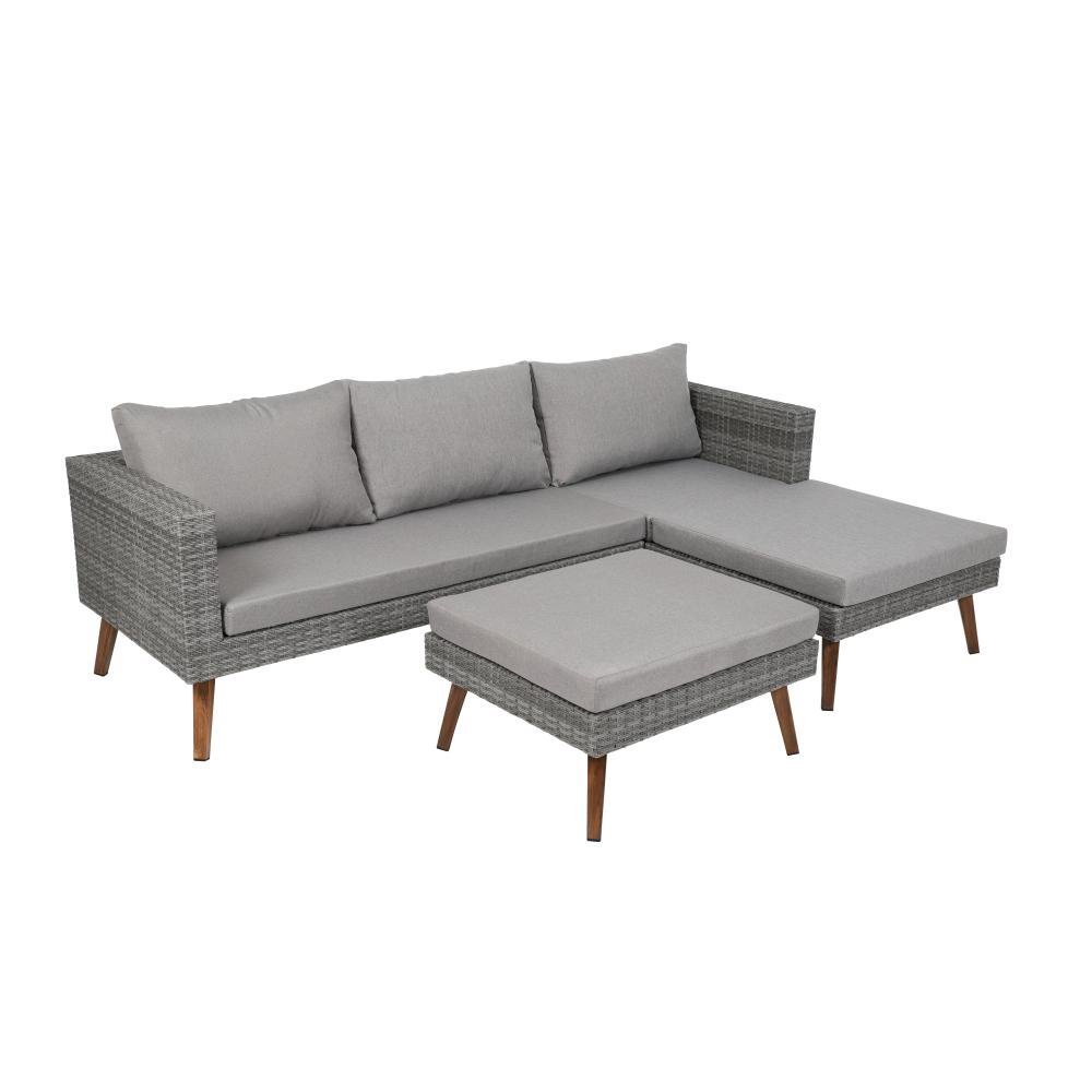 greemotion Gomera 3-teilig Garten Lounge-Set für 4 Personen, grau