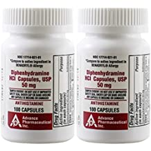 Diphenhydramine 50 mg 200 Capsules Generic Benadryl Allergy Medicine and Antihistamine