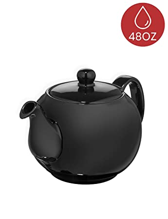 Saki Large Porcelain Teapot with Removable Stainless Steel Infuser, 48 ounce tea pot (Black)