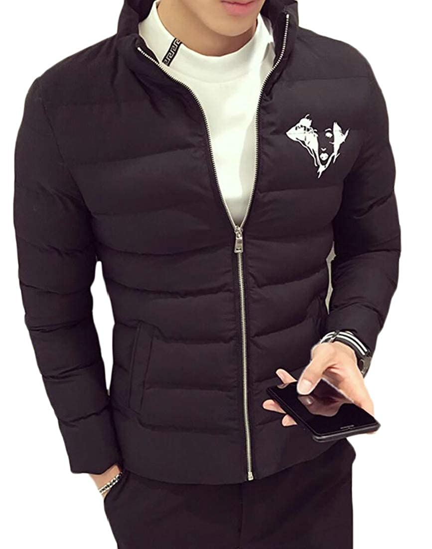 Alion Mens Padded Thick Slim Fit Stand Collar Leisure Zipper Down Jacket Coat