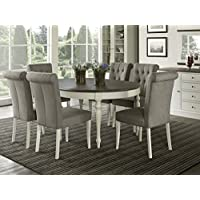 Vegas 7 Piece Round To Oval Extension Dining Table Set for 6 (Parsons Chairs)