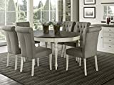 Everhome Designs – Vegas 7 Piece Round To Oval Extension Dining Table Set for 6 (Parsons Chairs)