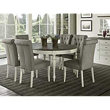 Everhome Designs - Vegas 7 Piece Round To Oval Extension Dining Table Set for 6 (  sc 1 st  Amazon.com & Amazon.com - Everhome Designs - Vegas 7 Piece Round To Oval ...